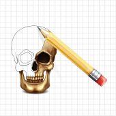 Skull vector sketch — Stock Vector