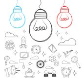 Vector idea illustration. Doodle icon set — Stock Vector