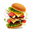Hamburger is exploding. Vector illustration — Stock Vector #63851453