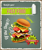 Hamburger is exploding. Vector fast food banner — Vetor de Stock