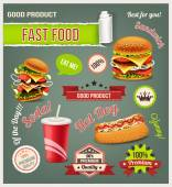 Fast food vector set — Stock Vector