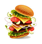 Hamburger is exploding. Vector illustration — Cтоковый вектор