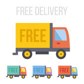 Vector free delivery truck icons — Stock Vector