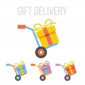 Vector gift delivery icons — Stock Vector