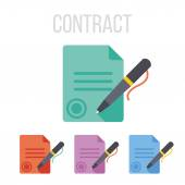 Vector sign contract icons — Stock Vector