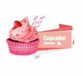 Pink cupcake vector banner — Stock Vector