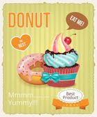 Vector cupcake and donut banner illustration — Stock Vector