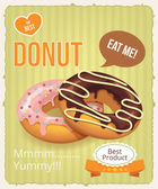 Vector donuts banner illustration — Stock Vector