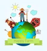 Vector happy farm illustration — Stock Vector