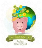 Vector piggy bank banner illustration — Stock Vector