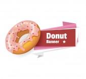 Vector pink donut banner illustration — Stock Vector