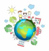 Planet earth. Happy family. Vector illustration — Stock Vector