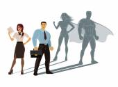 Vector super business people illustration — Stock Vector