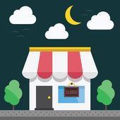 Shop building at night time — Stock Vector