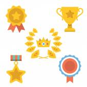 Medals, awards and achievements icons set — Stok Vektör