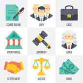 Vector court icons set. Set 14. — Stock Vector