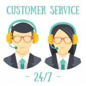 Man and women with headsets. Call center avatar icons. — Stock Vector