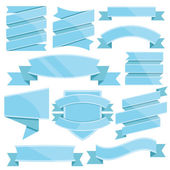Blue ribbons set. Vector illustration — Stock Vector