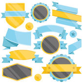 Blue, black and yellows badges,ribbons and labels set — Stock Vector