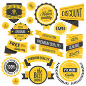 Yellow badges,ribbons and labels set — Stock Vector