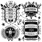 Vintage ribbons, badges and labels set 5 — Stock Vector