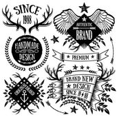 Vintage ribbons, labels and badges set 4 — Stock Vector