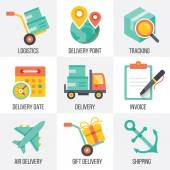 Vector delivery and logistics icons set. Set 8 — Stock Vector