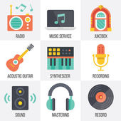 Vector music icons set. Set 11 — Stock Vector