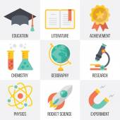 Vector education and science icons set. Set 13 — Stock Vector