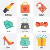 Vector women shopping icons set. Set 7 — Stock Vector