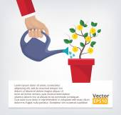 Human hand with can watering money tree — Vettoriale Stock