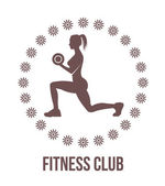 Fitness club logo with woman silhouette.Woman holds dumbbells — Stock Vector