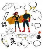 Superheroes and cartoon speech bubbles and design elements — Stock Vector