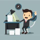 Happy office worker shows ok sign — Stock Vector