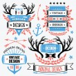 Trendy ribbon banners and badges set. — Stock Vector #69632317