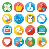 Medical icons set. Flat design icons with long shadows — Stock Vector