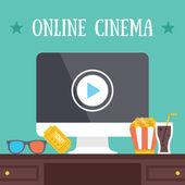 Online cinema. Media content internet streaming concept. — Stock Vector