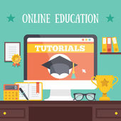 Online education concept. Creative vector illustration. — Vector de stock
