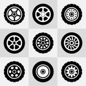 Tires and wheels icons set — Stock Vector