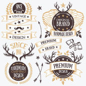 Graceful ribbon banners, labels and badges set. Set 3 — Stock Vector