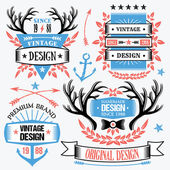 Trendy ribbon banners and badges set. — Stock Vector