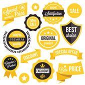 Badges, stickers, ribbons and insignias set — Stock Vector