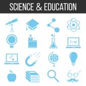 Science and education icons set — Stock Vector