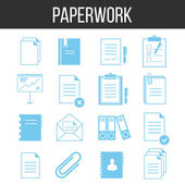 Paperwork and documents icons set — Stock Vector