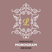 Premium quality monogram design template 4. Creative concept — Stock Vector