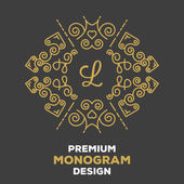 Premium quality monogram design template 7. Creative concept — Stock Vector