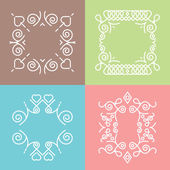 Outline badges, frames, emblems, and hipster logos templates. Set 2 — Stock Vector