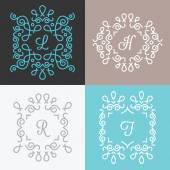 Set of trendy monogram design templates. Set 1 — Stock Vector