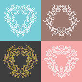 Outline floral frames and badges templates. Set 5 — Stock Vector