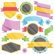 Modern colorful badges, web stickers, tags, labels and ribbons templates set. — Stock Vector #71428307
